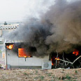 Qassam hits Sderot house earlier Thursday Photo: Reuters