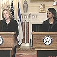 Livni and Rice at joint press conference Photo: CNN
