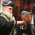 Minister Yishai (R) with Rabbi Ovadia Yosef Photo: Gil Yohanan