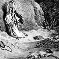 הגר וישמעאל במדבר. ציור של גוסטב דורה, 1865