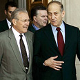 Olmert, Rumsfeld talk about terror Photo: AP