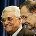 Working to thwart Olmert's plan. Abbas (L) with EU's Javier Solana Photo: Reuters