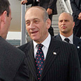 Olmert arrives at Heathrow Photo: Avi Ochayon, GPO
