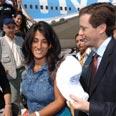 Herzog: greetings in French and Hebrew Photo: Yisrael Hadari