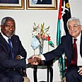 Annan (L) and Abbas in Ramallah Photo: AP