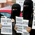 Muslim women protesting in Britain for veil rights Photo: AFP