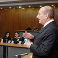Olmert addressing students in Nahariya on Monday Photo: GPO