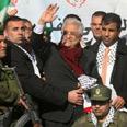 Abbas during Ramallah rally Photo: AFP