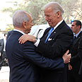 Peres greets Biden Photo: Moshe Lerner, GPO