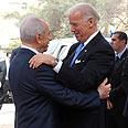 Peres greets Biden Photo: Moshe Lerner, GPO