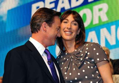 דיוויד קמרון ורעייתו סמנתה (צילום: AFP)