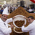 Lebanese chefs pose with falafel balls Photo: AFP