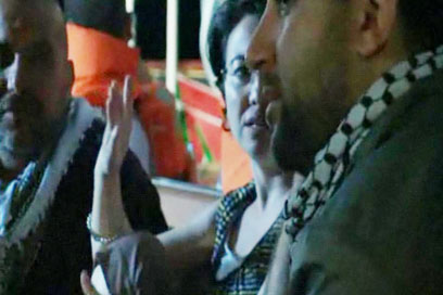 Zoabi on the Gaza-bound Marmara ship (archives)