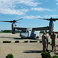 V-22 at US base Photo: Hanan Greenberg