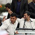 Firecracker thrown by excited fan? Ahmadinejad in Hamedan