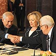 Netanyahu, Abbas and Clinton Photo: GPO