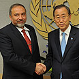 'Just an excuse.' FM with UN chief Photo: Shahar Azran