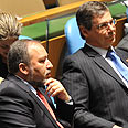 Lieberman (L) and Ayalon at UN Photo: Shahar Azran