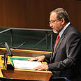 'Moving borders.' Lieberman at UN Photo: Shahar Azran
