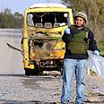 Bus hit by Hamas strike Photo: APA