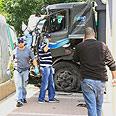 Truck hit cars, pedestrians along Barlev Street Photo: Ofer Amram