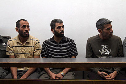 Palestinian cell members in court Thursday (Photo: Gil Yohanan) (Photo: Gil Yohanan)
