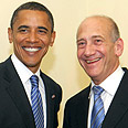 Olmert congratulates Obama Photo: Avi Ohayon, GPO