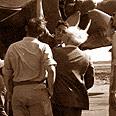 E. Ben-Gurion near B-17 aircraft