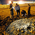 Qassam landing site near Sderot factory Photo: Amir Cohen