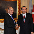 Olmert greeted by Erdogan Photo: Amos Ben-Gershom, GPO