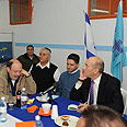 Olmert (R) in Beersheba Photo: Moshe Milner, GPO