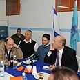 Olmert (R) in Beersheba Photo: Moshe Milner, GPO