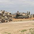 IDF tanks outside Gaza Photo: Ido Erez