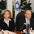Olmert and Livni, at crossroads Photo: Amos Ben-Gershom, GPO
