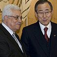 Palestinian President Abbas with UN chief Ban Photo: AFP