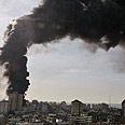 Smoke above the Gaza Strip in January 2009 Photo: AP