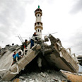 Ruined mosque in Gaza Photo: AP