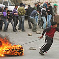 Stone throwers. West Bank riots Photo: AP