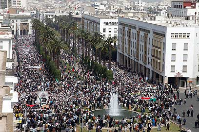 Anti-Israel rally in Morocco (Photo: Reuters)