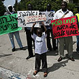Migrants protesting Photo: Gil Yohanan