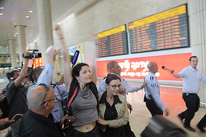 Foreign activists at BG Airport (Photo: Moti Kimchi)