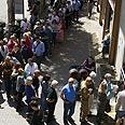 Long line in Tel Aviv Photo: AFP