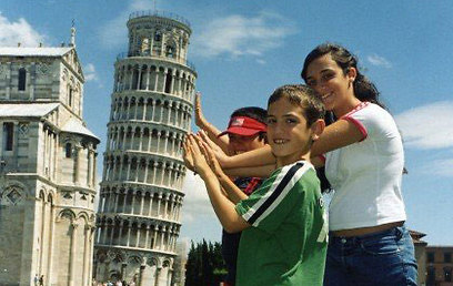 Levy's kids in Pisa (Photo: Anat Levy)