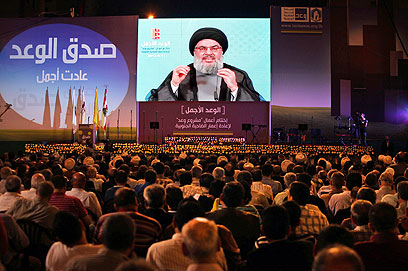 Nasrallah adresses supporters (Photo: AP)
