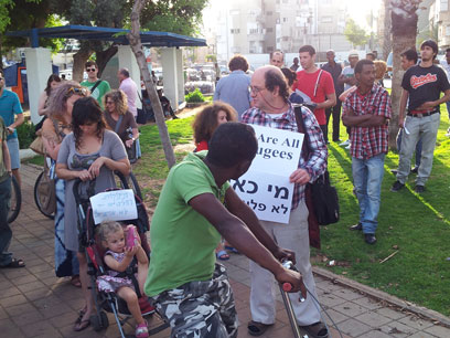 Tel Aviv rally in favor of African migrants (Photo: Moti Kimchi)