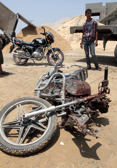 Motorcycle after IAF hit in Gaza (Photo: AFP)