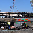 Israeli tourist bus after blast Photo: AP
