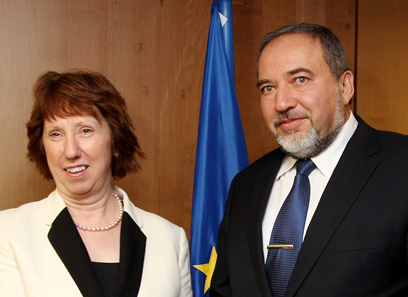 EU's Ashton with FM Lieberman (Archive photo: AFP)