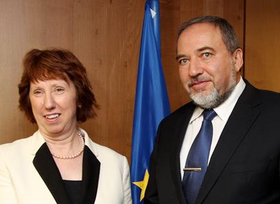 EU's Ashton with FM Lieberman (Archive photo: AFP)