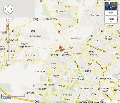 מפת שכונת נווה דוד ברמלה (צילום: Google Maps)